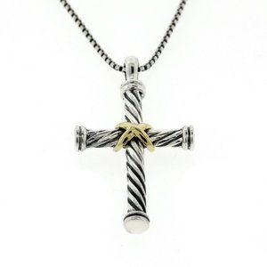 DAVID YURMAN CABLE CROSS 18K W STERLING NECKLACE